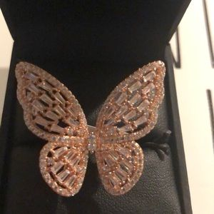 Sterling silver / crystals butterfly ring 8 new